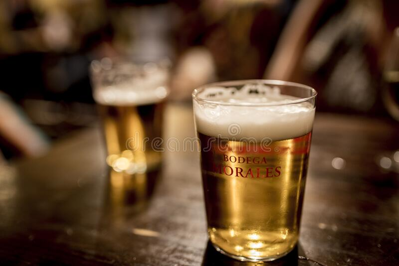 Glasses of beer on table royalty free stock photos