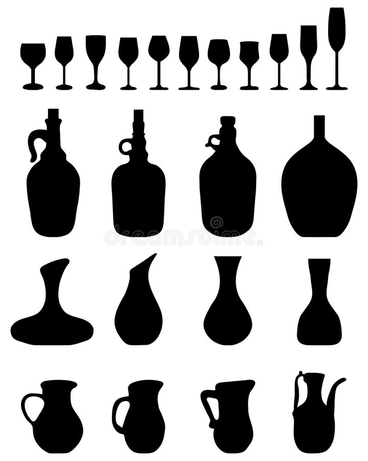 Glasses and bottles. Black silhouettes of wine glasses and bottles royalty free illustration