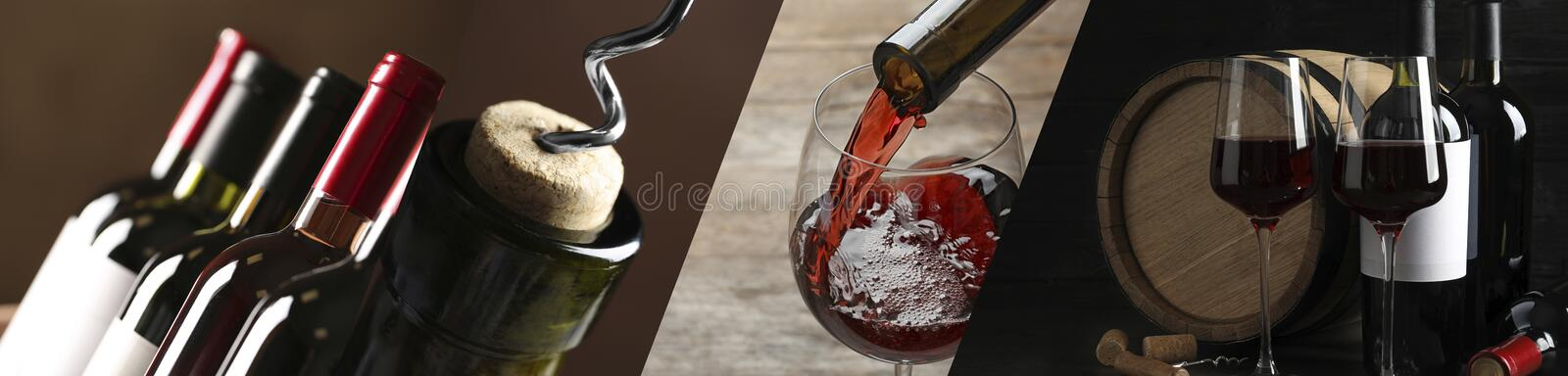 Glasses and bottles of red wine. Banner design. Set with glasses and bottles of red wine. Banner design stock image