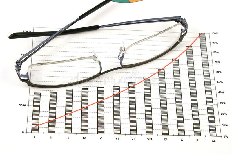 Glasses On Business Graph Stock Photo