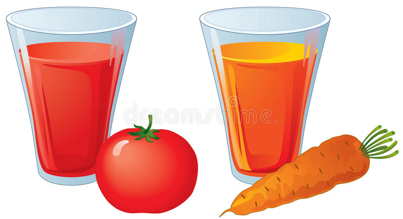 Glasses of carrot and tomato juice. At the white background vector illustration