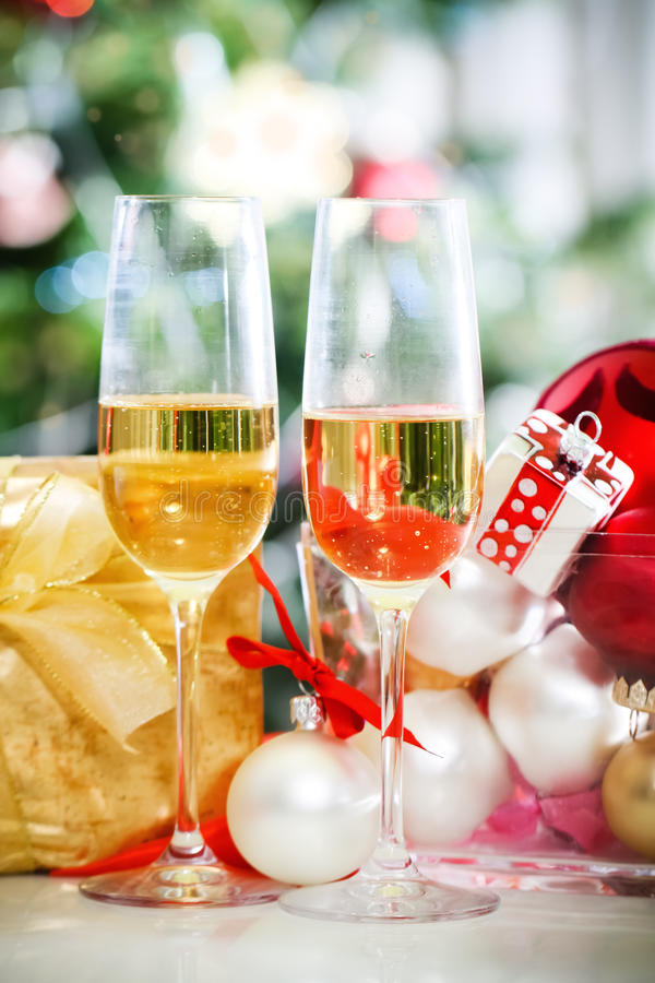 Download Glasses Of Champagne And Christmas Decorations Stock Image - Image of table, reflection: 26879741