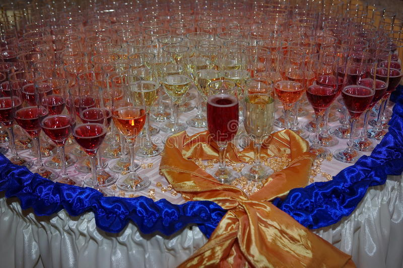 Glasses with champagne. Close up of several champagne glasses on wedding stock photos