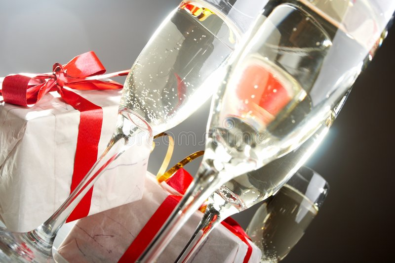 Download Glasses Of Champagne , Gifts Stock Photography - Image: 7174252
