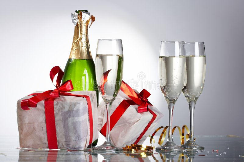 Download Glasses Of Champagne , Gifts Stock Photo - Image: 7174298