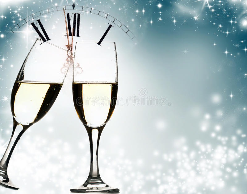 Glasses of champagne at New Year's Eve royalty free illustration