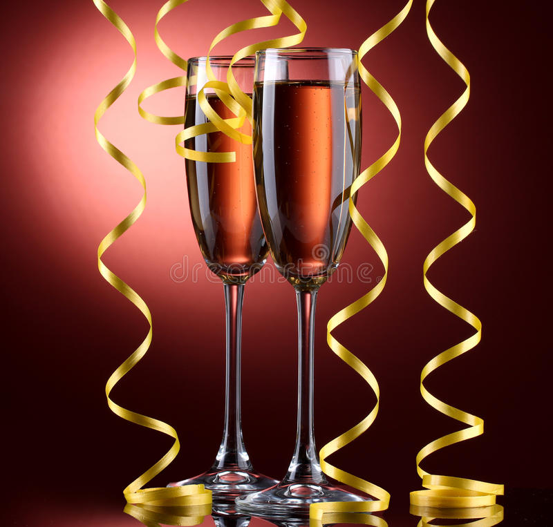 Download Glasses Of Champagne And Streamer Stock Photo - Image: 25828820
