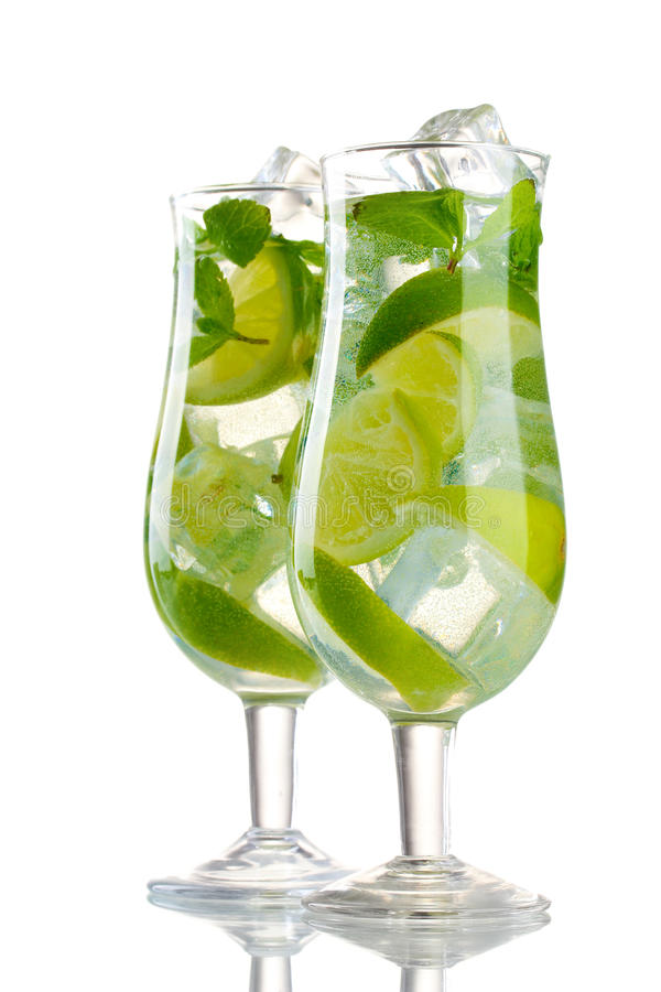 Download Glasses Of Cocktail With Lime And Mint Stock Photography - Image: 23680302