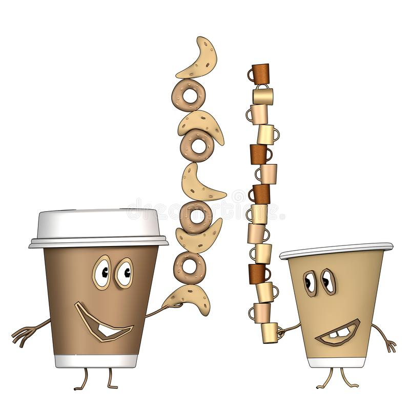 Coffee cups with croissant and cup of coffee. Cartoon stock illustration