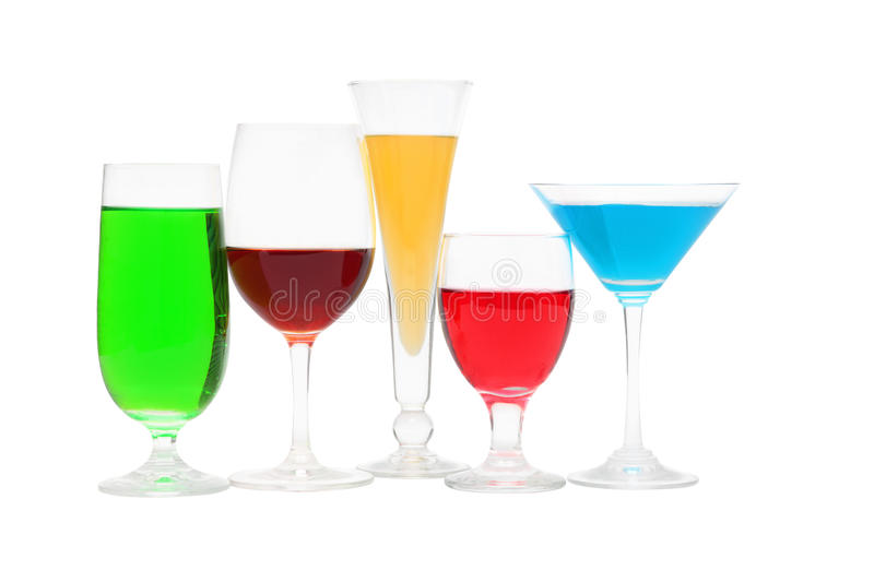 Glasses with a different color liquid stock photography