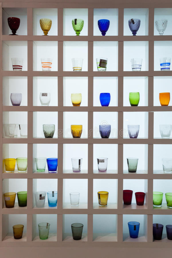 Glasses on display at HOMI, home international show in Milan, Italy royalty free stock photos