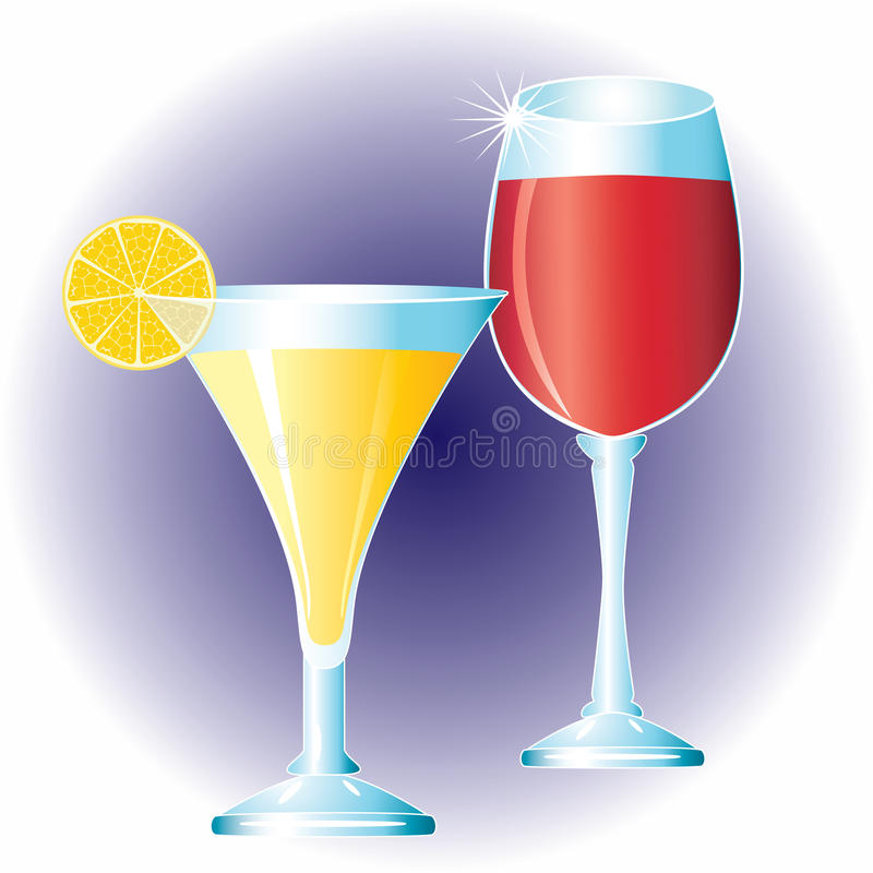 Glasses with drinks. vector illustration
