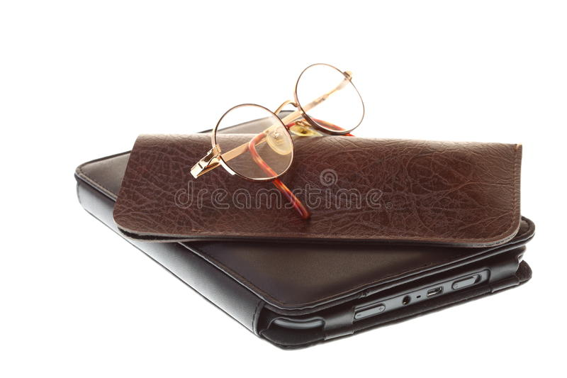 Glasses eBook reader isolated on white royalty free stock images