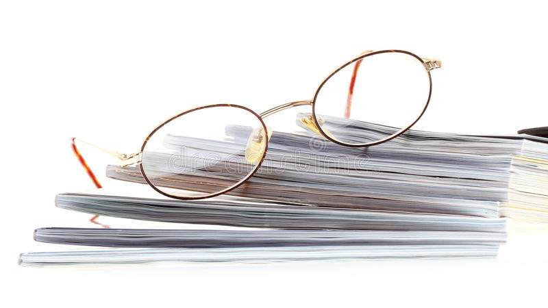 Glasses eBook reader isolated on white royalty free stock photos