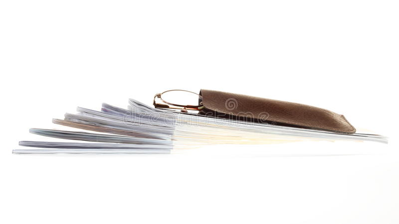 Glasses eBook reader isolated on white stock image