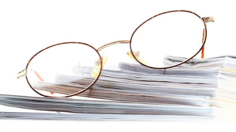 Glasses eBook reader isolated on white stock photos