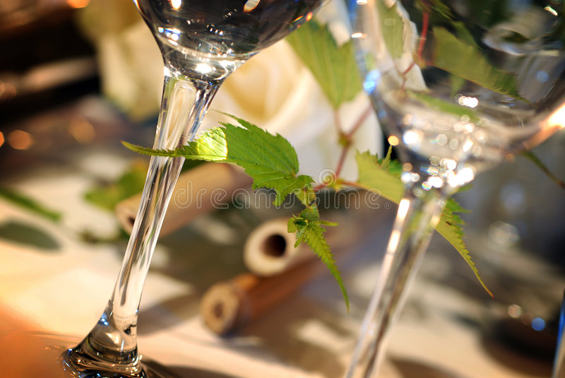 Glasses on event table royalty free stock image