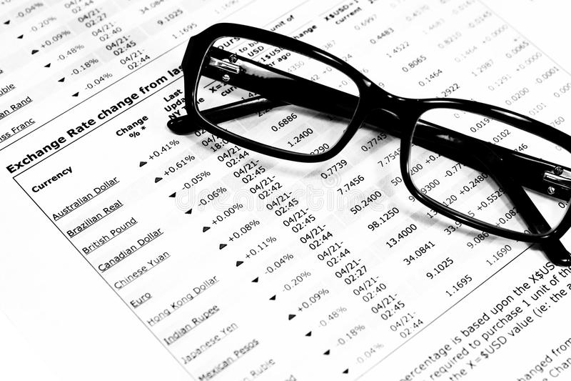 Download Glasses And Financial Documents Stock Image - Image of horizontal, annual: 10717679
