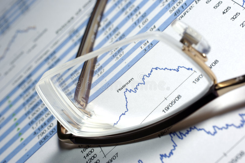 Glasses and financial report with charts.