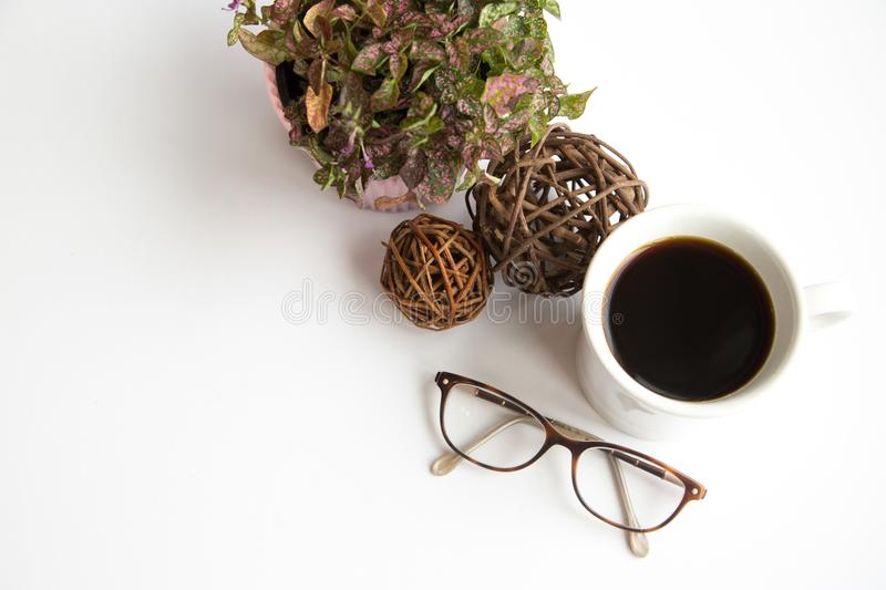 Glasses and floral stock photography
