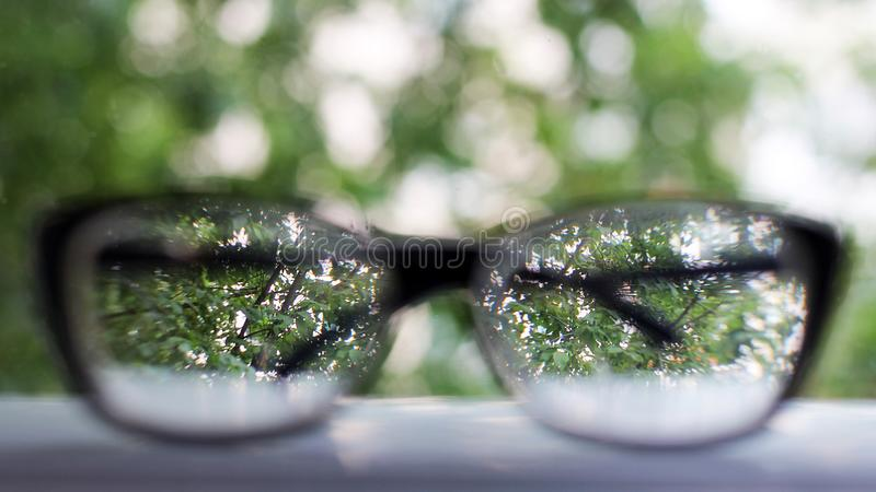 Glasses focus background wooden eye vision stock photo