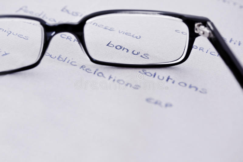 Download Glasses With Focus On Bonus Stock Image - Image: 27079029