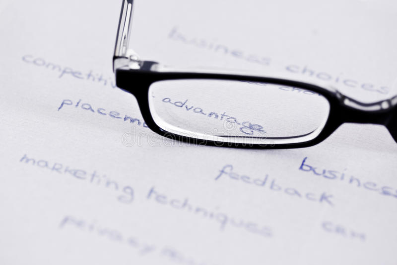 Glasses with focus on competitive advantage