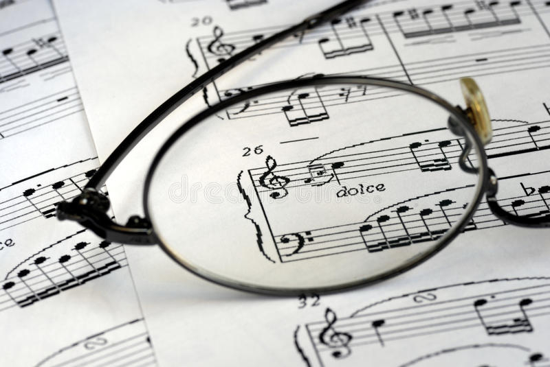 The Glasses Focus On The Music Symbols Royalty Free Stock Photo