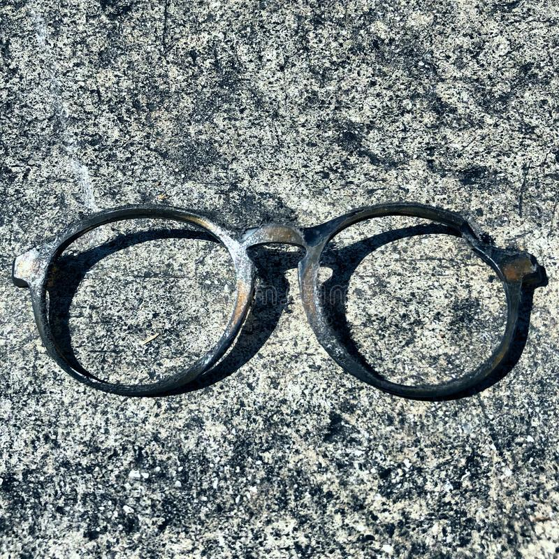Glasses frame on cement stock photos