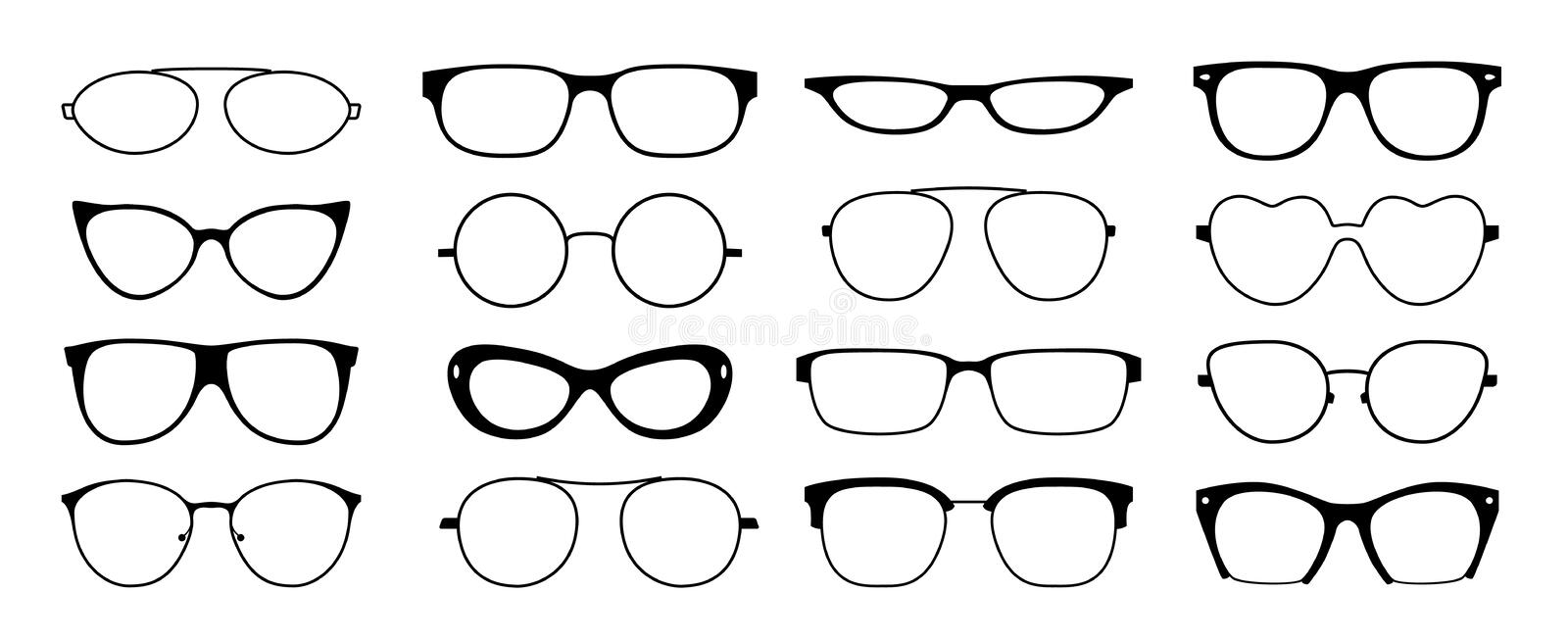 Glasses frames silhouette. Hipster geek sun glasses, optometrist black plastic rims, old fashion style. Vector isolated. Glasses set looking shape frames ocular vector illustration