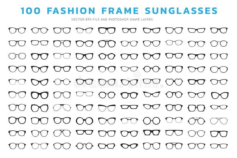 Glasses frames vector. Set of glasses. Vector illustration on white background. Glasses model icons, man, women frames. Sunglasses, eyeglasses isolated on white vector illustration