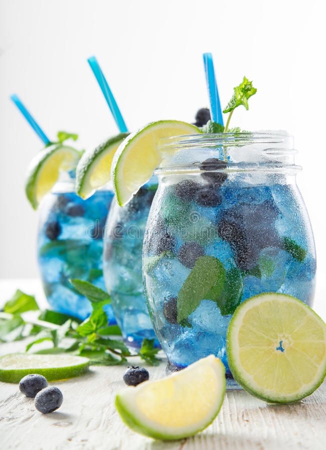 Glasses of fresh,home-made fresh blueberry juice stock photography