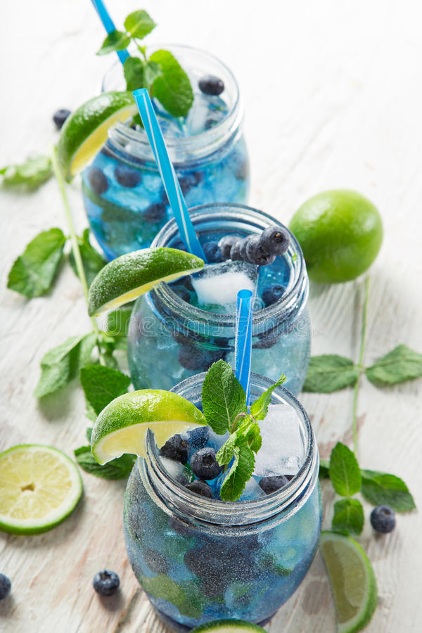 Glasses of fresh,home-made fresh blueberry juice stock images