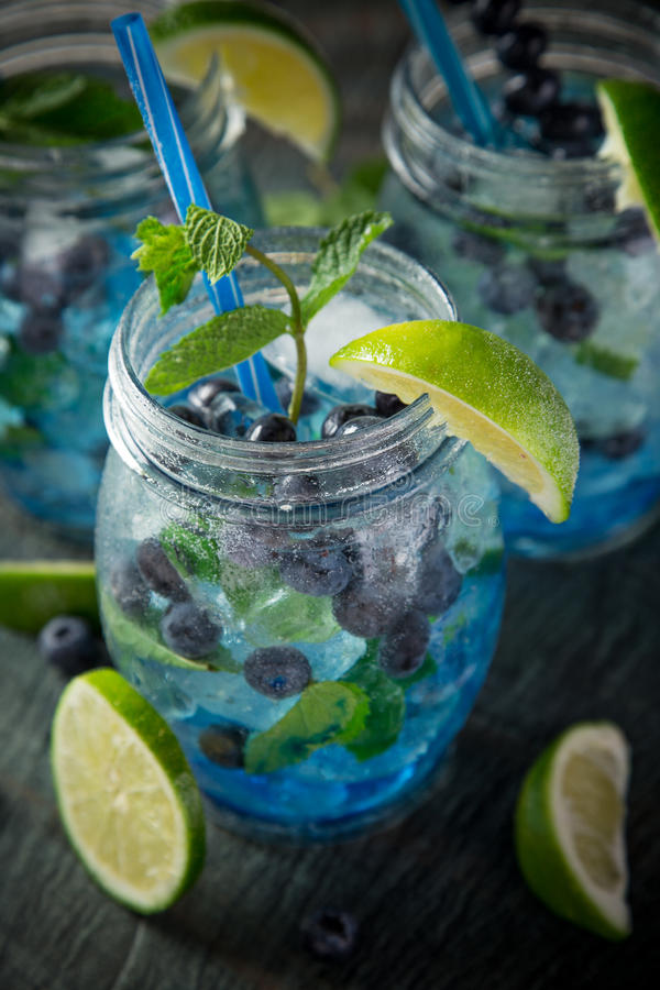 Glasses of fresh,home-made fresh blueberry juice royalty free stock photos