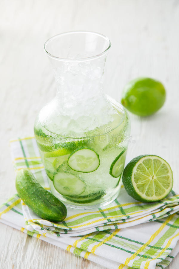 Glasses of fresh, home-made fresh cucumber juice stock image