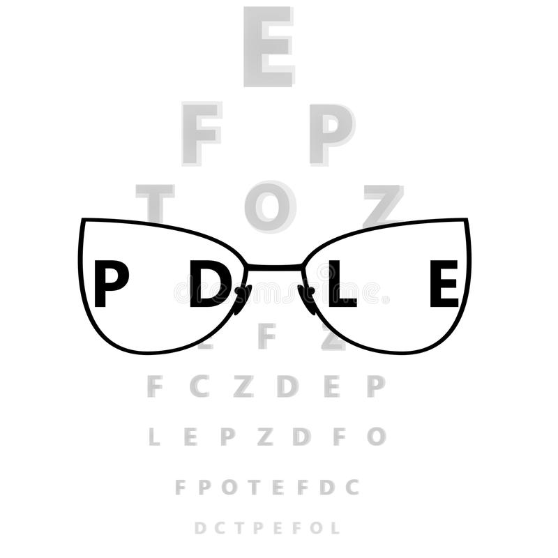 Glasses in front of eye test. Glasses in front of eye test vector illustration stock illustration
