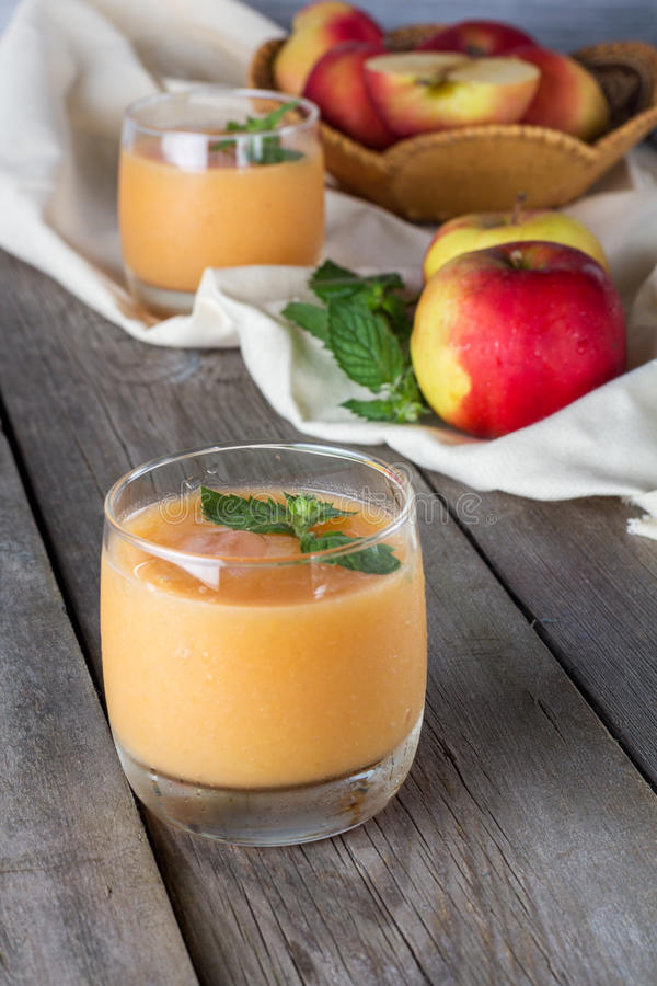 Glasses of fruit smoothies stock image