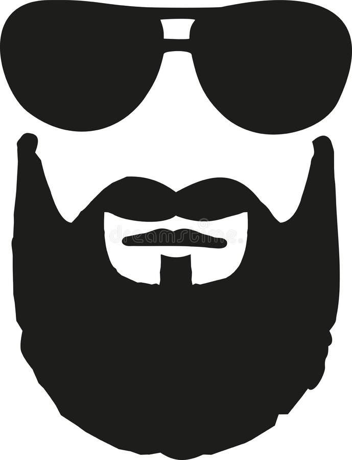 Glasses with full beard. Vector vector illustration