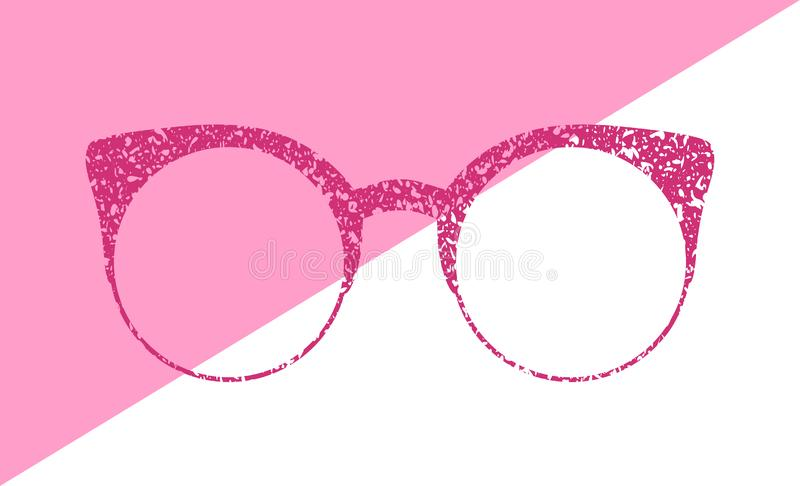 Glasses grunge texture vector. Accessory Art collection cool flat design. Elegant spectacles on a white background. Glasses grunge texture vector. Accessory art royalty free illustration