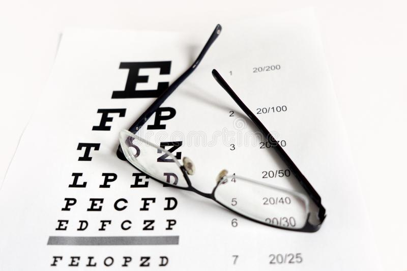 Glasses in the hands on the background of the table for vision royalty free stock photography