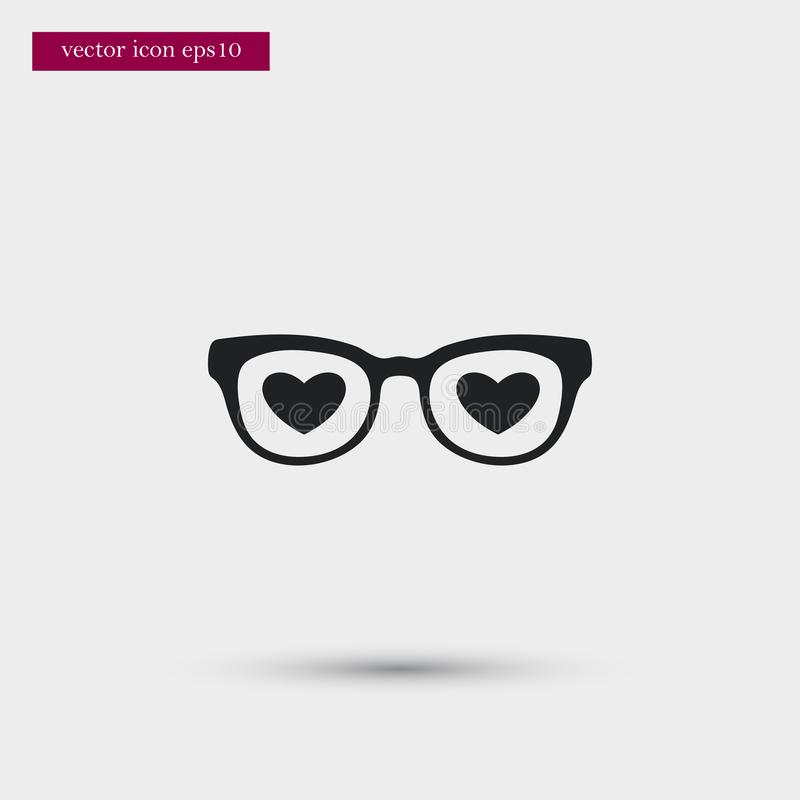 Glasses with hearts icon. Simple romance element illustration. Valentine symbol design from love collection. Can be used in web and mobile vector illustration
