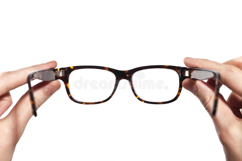 Download Glasses With Horn-rimmed In Human Hands Isolated Stock Photo - Image of eyewear, white: 14268568