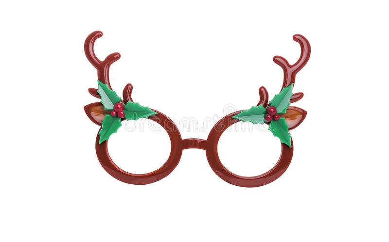 Glasses with the horns of a deer. Glasses with the horns of a deer isolated on white background stock photo