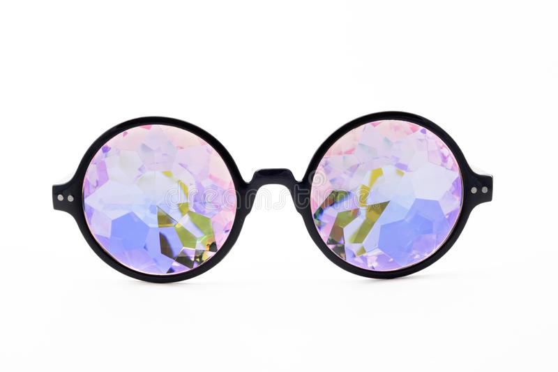 Glasses kaleidoscopes hologram white background isolated. Points are located frontally stock photos