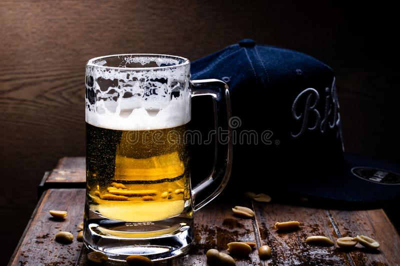 Glasses of light and dark beer stock photo