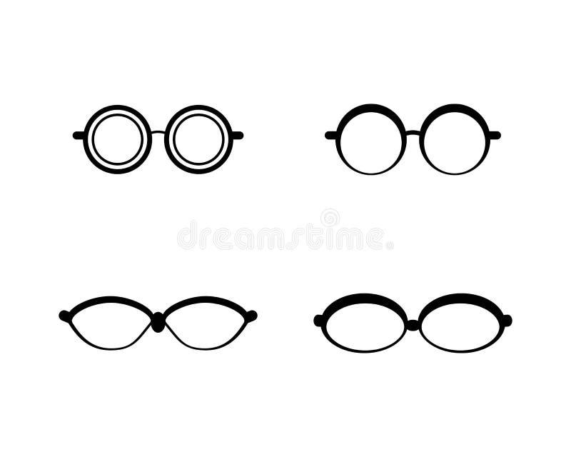 Glasses logo vector icon illustration. Design, sunglasses, background, isolated, black, modern, white, style, fashion, eyeglasses, frame, elegance, view, symbol royalty free illustration