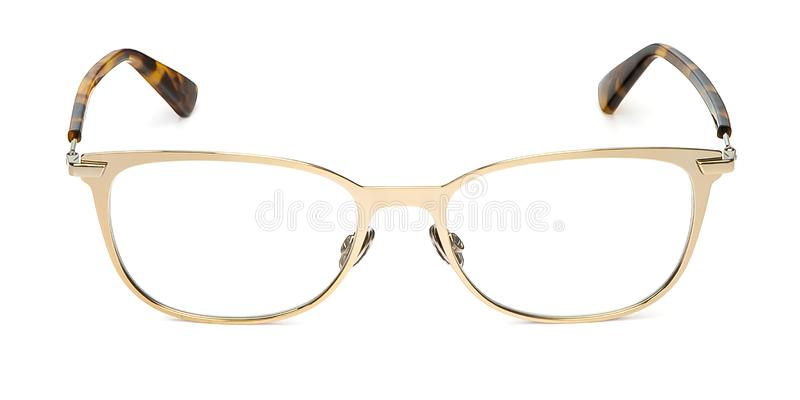 Glasses metal in rectangular frame transparent for reading or good eye sight, front view isolated on white background royalty free stock images