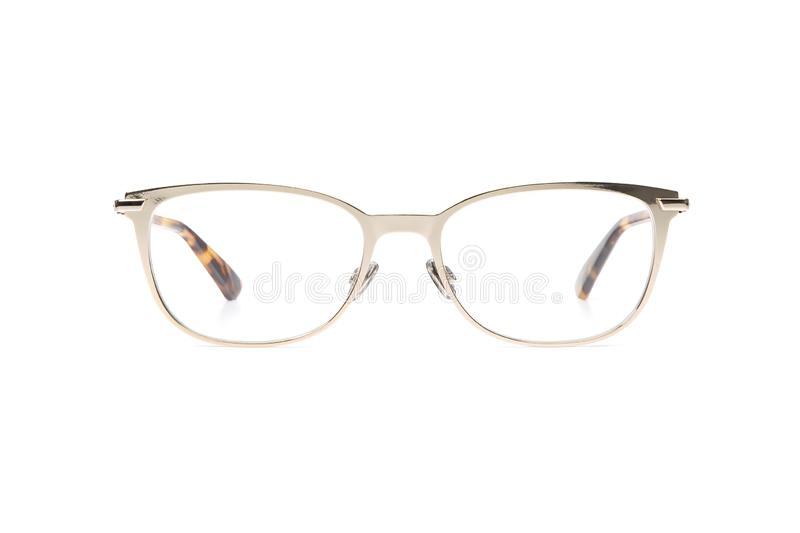 Glasses metal in round frame transparent for reading or good eye sight, front view isolated on white background royalty free stock images