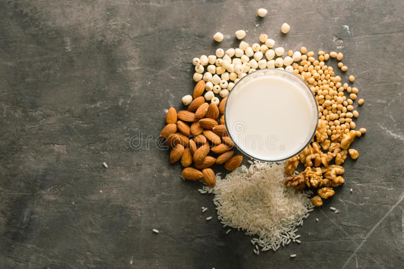 Different types of non-dairy milk stock photography