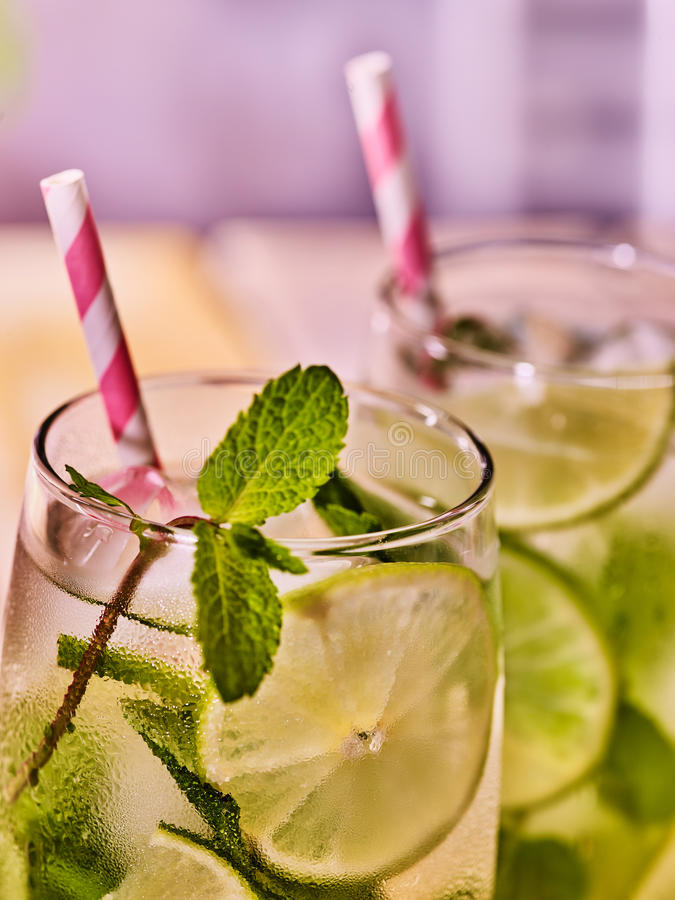 Glasses with mohito and straw. stock photography